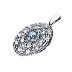 Srebrny oksydowany wisiorek z kryształem Swarovski W 1996