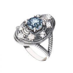 Srebrny oksydowany pierścionek z kryształem Swarovski PK 1996