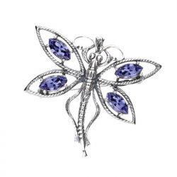 Srebrna broszka z kryształami Swarovski WB 206