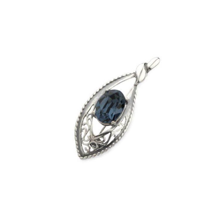 Broszka srebrna zdobiona kryształem Swarovskiego B 158