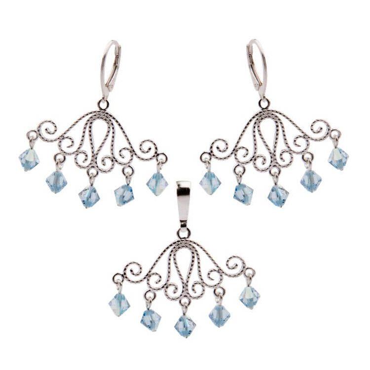 Srebrny komplet Kryształy Swarovskiego KPL 1051 Aquamarine