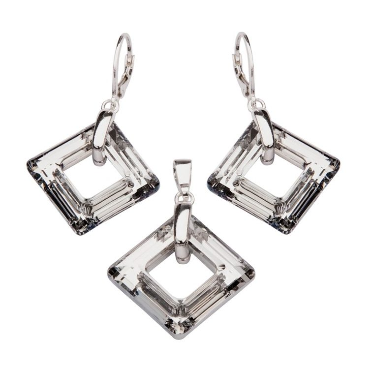 Komplet (kolczyki + wisiorek) srebro kryształy Swarovskiego KPL 1541