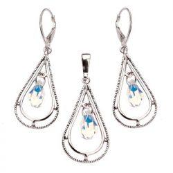 Komplet srebrny Crystal AB wiszące kolczyki i wisiorek