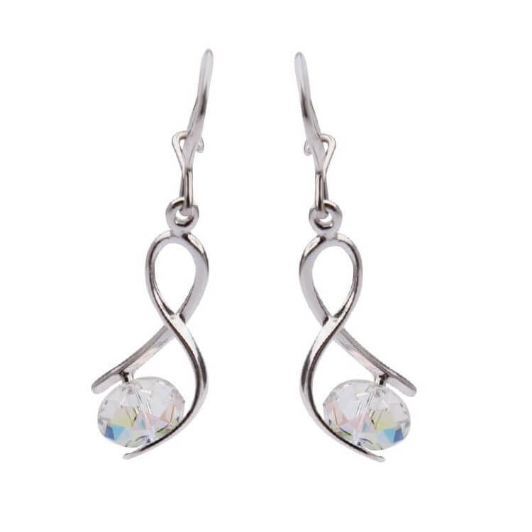 Kolczyki srebrne z kryształami Swarovskiego Crystal AB K 1108