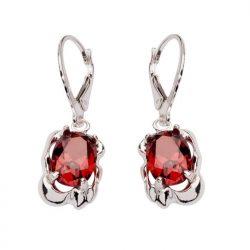 Kolczyki srebro cyrkonia K 1575 Czerwony