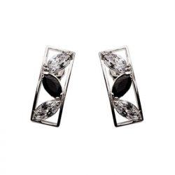 Srebro cyrkonie kolczyki K 889 Czarno-białe