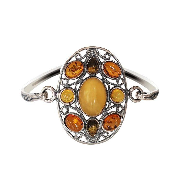 Srebrna bransoletka z bursztynem BL 021
