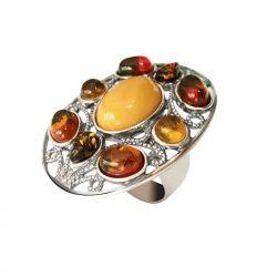 Srebrny pierścionek z bursztynami BP 021