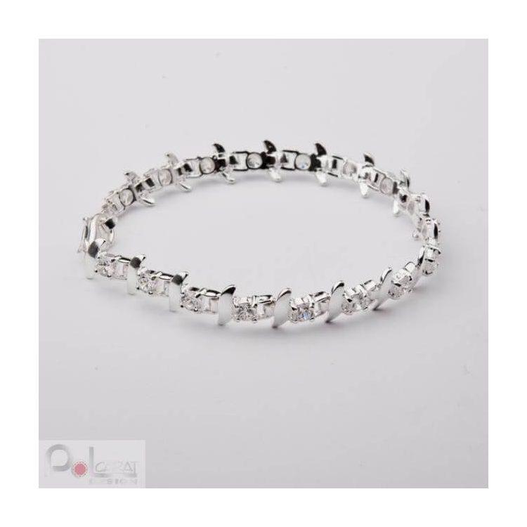 Bransoletka srebro cyrkonie L 369