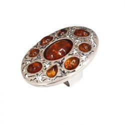 Srebrny pierścionek z bursztynem BP 096