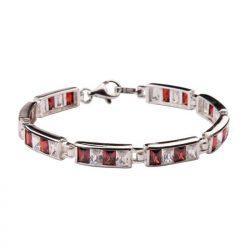 Bransoletka srebrna z cyrkoniamiL 673 Biało-czerwony