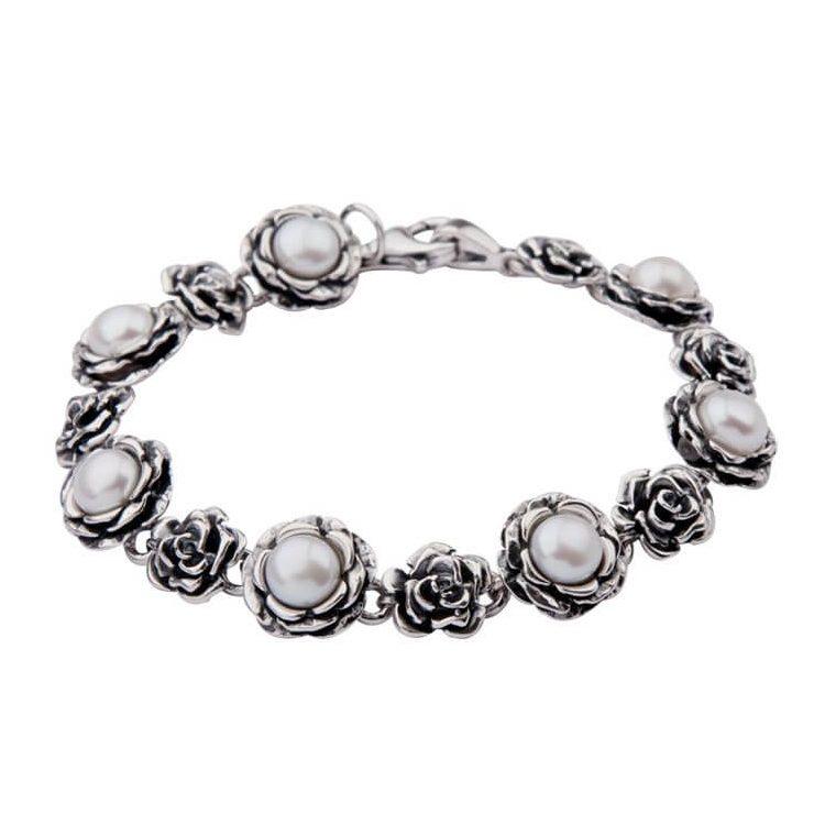 Srebrna bransoletka z perełkami L 761