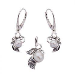 Bransoletka srebro perły L 1563