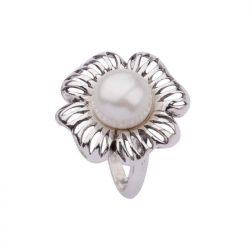 Pierścionek srebro oksydowane perła PK 1565