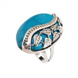 Srebrny oksydowany pierścionek z turkusem PK 1716 turkus