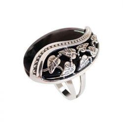 Srebrny oksydowany pierścionek z onyksem PK 1716 onyks