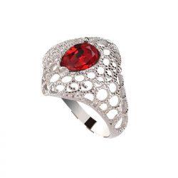 Srebrny rodowany pierścionek z kryształem Swarovski PK 2025