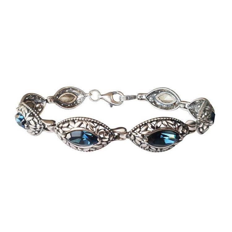Srebrna bransoletka z kryształami Swarovskiego L 1937