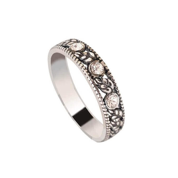 Srebrny pierścionek obrączka z kryształami Swarovskiego PK 430