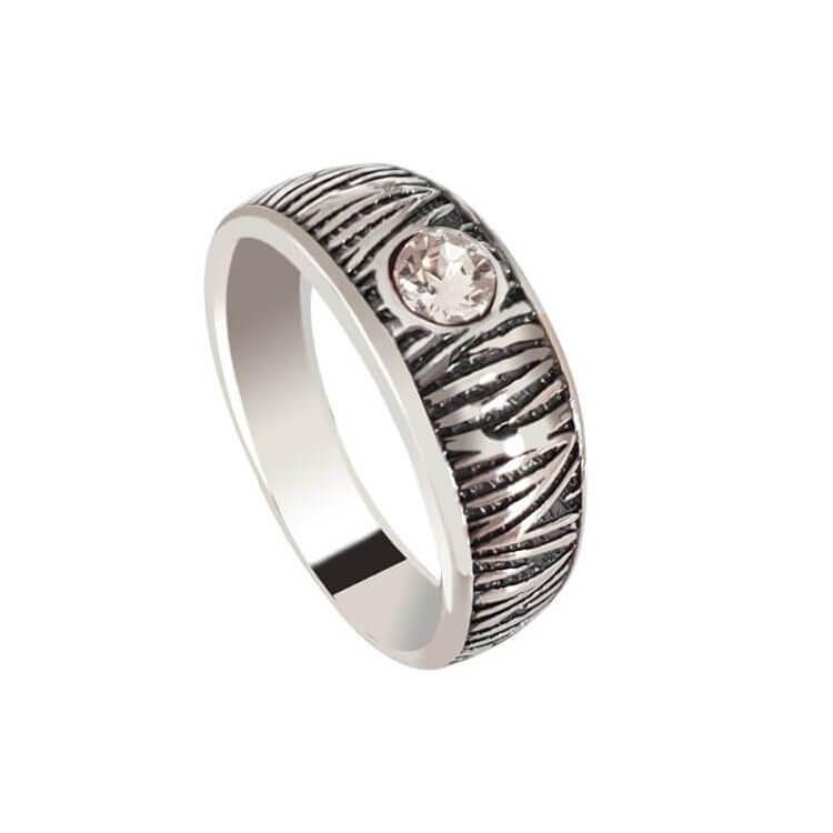 Srebrny pierścionek obrączka z kryształem Swarovski PK 429