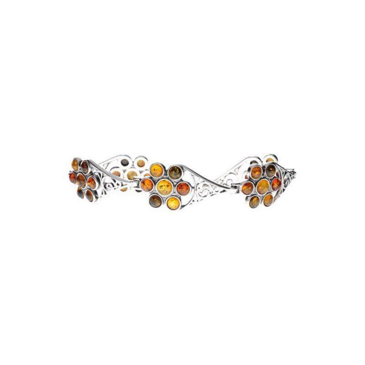 Srebrna bransoletka z bursztynami LA 036