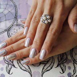 Srebrny pierścionek z perłami i krysztalami Swarovski PK 1959