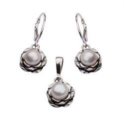 Komplet srebrny z perłami KPL 761 Biała Perła