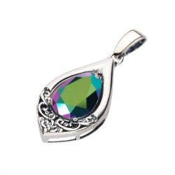 Srebrny oksydowany wisiorek z kryształem Swarovski W 2030