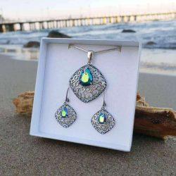 Srebrne oksydowane kolczyki z kryształami Swarovski K 2075