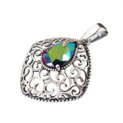 Srebrny oksydowany wisiorek z kryształem Swarovski W 2075