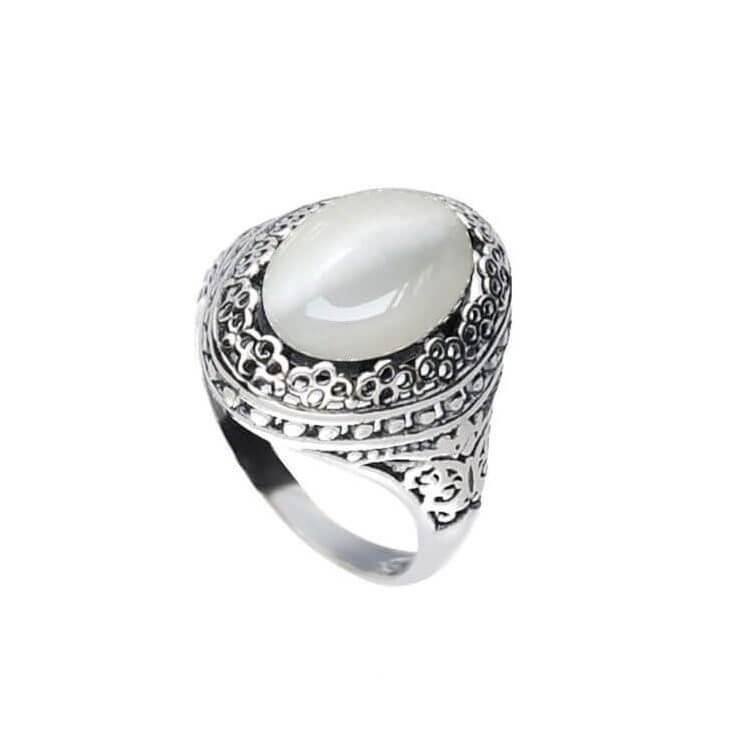 Srebrny oksydowany pierścionek z kamieniem KOCIE OKO PK 2023