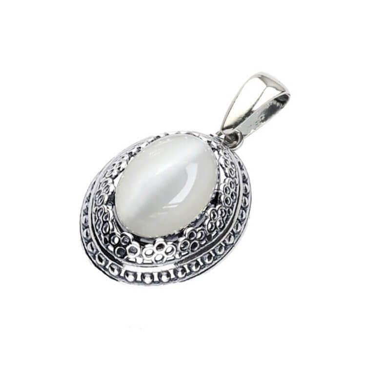 Srebrny oksydowany wisiorek z kamieniem KOCIE OKO W 2023