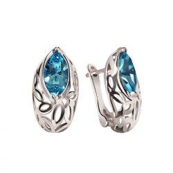 Srebrne kolczyki z kryształami Swarovski K3 1948 Aquamarine