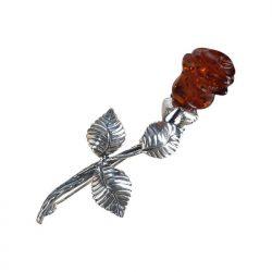 Srebrna broszka z bursztynem róża