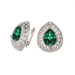 Kolczyki z zielonymi oczkami - swarovski crystal emerald