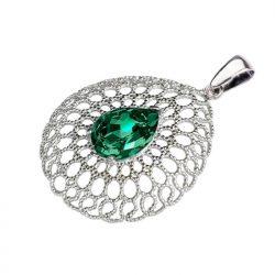 Zielony wisiorek z kryształami swarovskiego Emerald (srebrny)