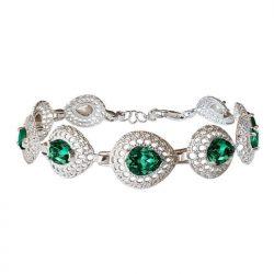 Zielona bransoletka srebrna z kryształami Swarovski Emerald Crystal srebro 925