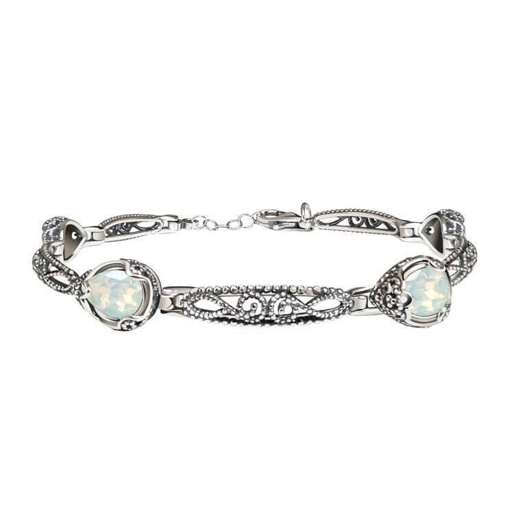 Srebrna oksydowana bransoletka z kryształami Swarovski L 2084