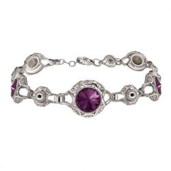 Srebrna rodowana bransoletka z kryształami Swarovski L 1894