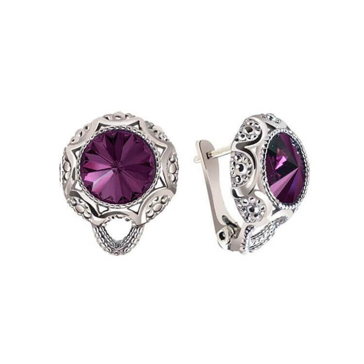 Rodowane kolczyki z kryształami Swarovski K3 1894