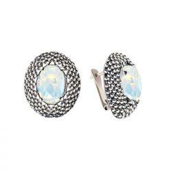 kolczyki srebrne na angielskim zapięciu Swarovski Crystal White Opal