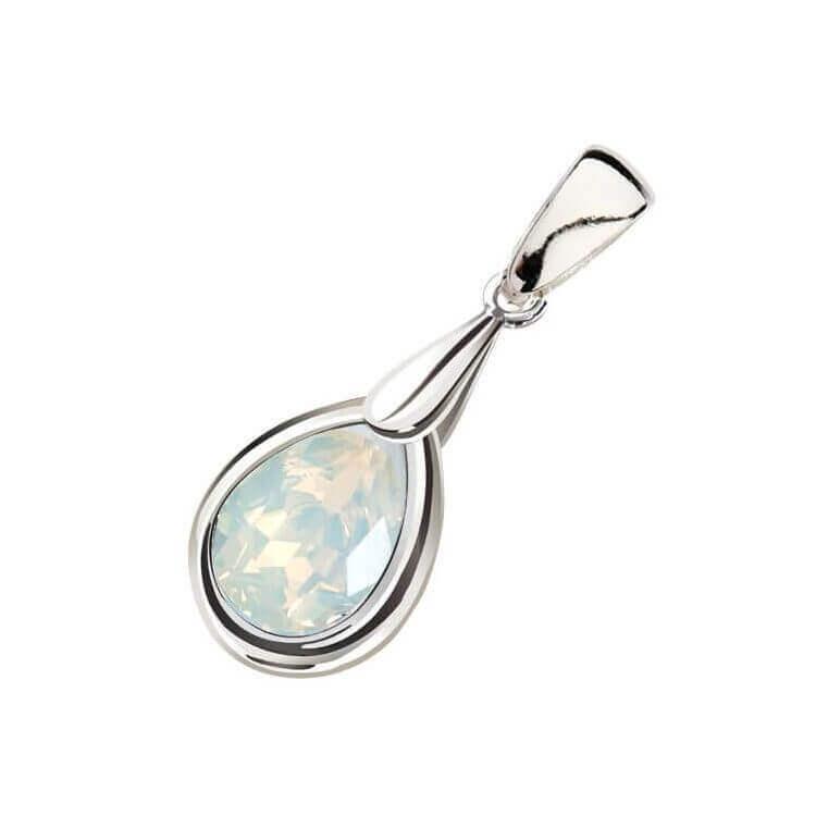 wisiorek srebrny rodowany white opal swarovski crystal