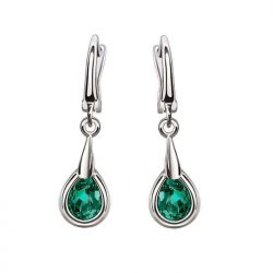 Rodowane kolczyki ze srebra emerald crystal zielone