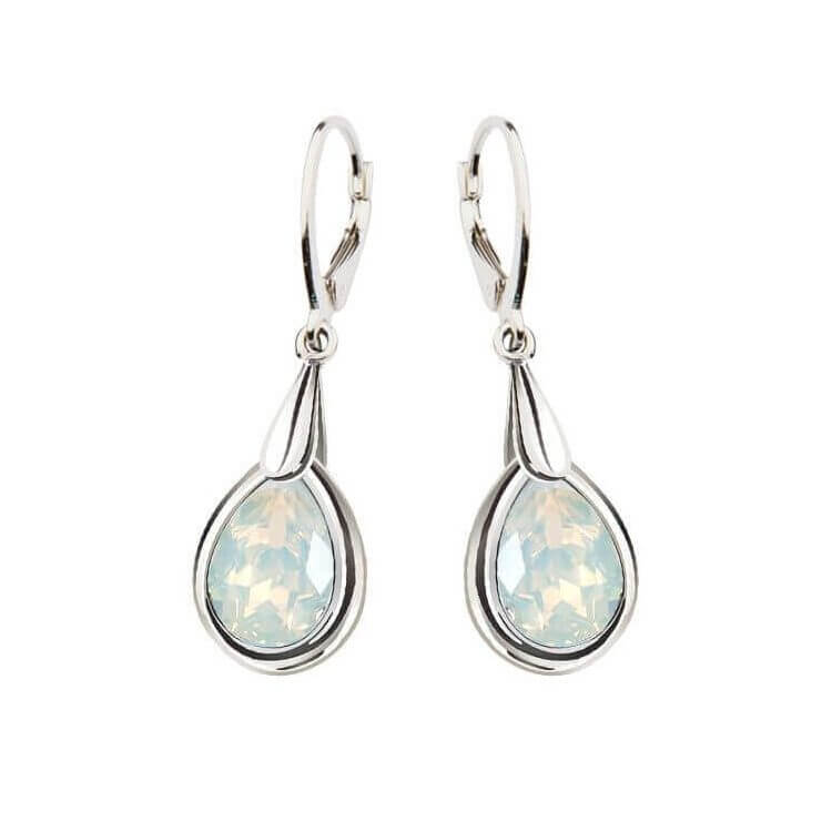 White opal crystal kolczyki srebrne