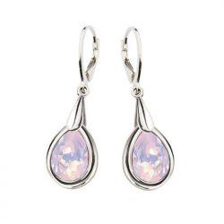 Kolczyki srebrne swarovski rodowane rose water opal