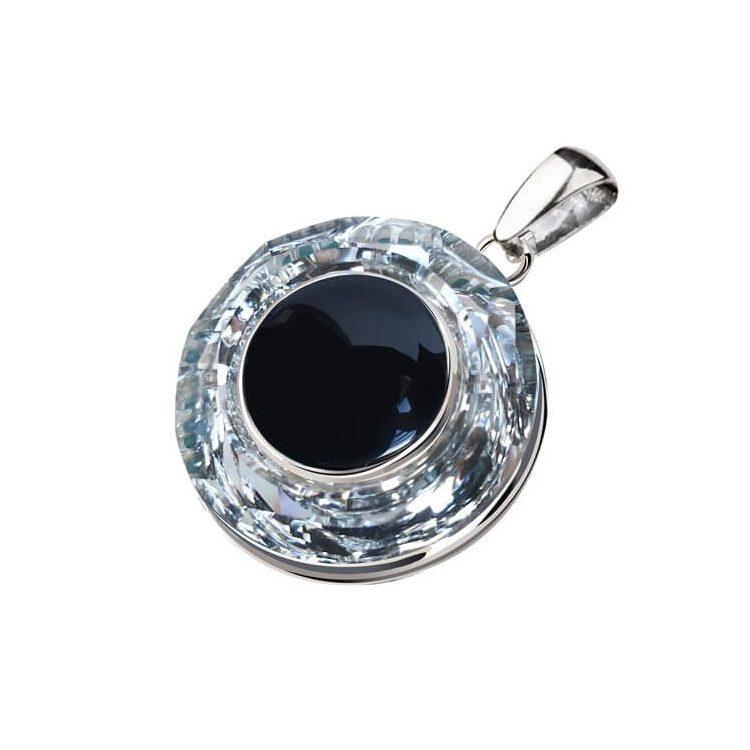 Kolczyki srebrne swarovski crystal cosmic ring crystal cal onyks 1705