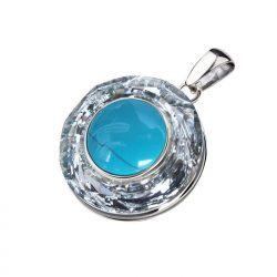 Wisiorek srebrny swarovski crystal cosmic ring crystal cal turkus 1705