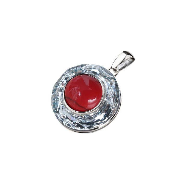 Wisiorek srebrny swarovski crystal cosmic ring crystal cal koral 1705