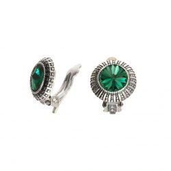 Klipsy srebrne z zielonym kamieniem - kryształ Swarovski Emerald