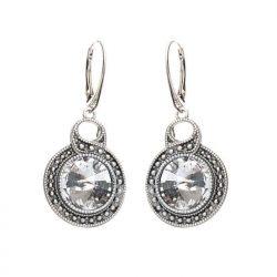 Srebrne kolczyki z kryształem Swarovskiego K 1897